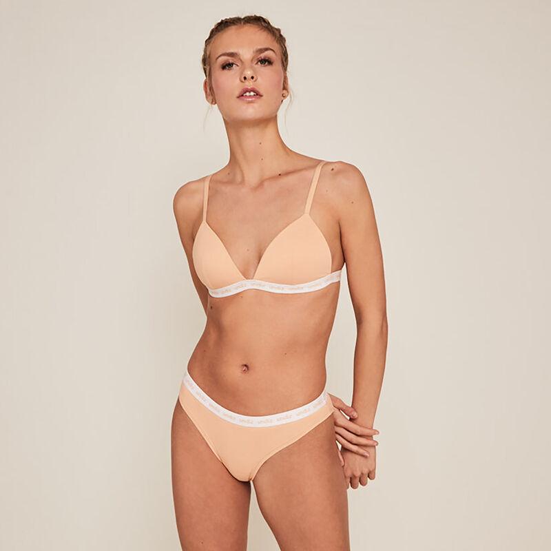 Plain cotton triangle bra - beige;