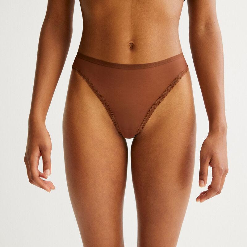 plain tulle thong - brown;