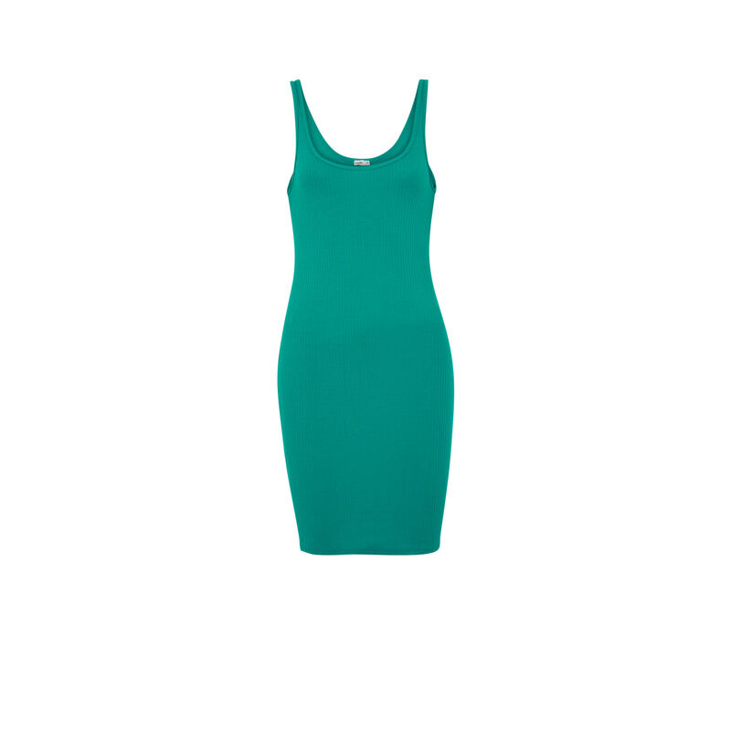 Plain tank top dress - green;