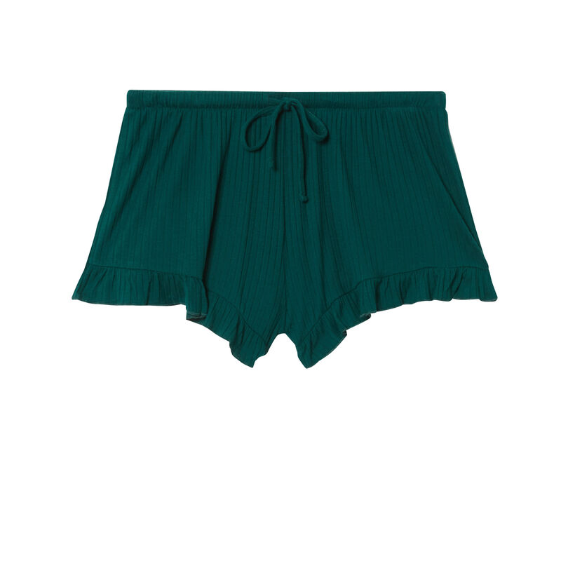 ruffled shorts with low cut bows - fir;