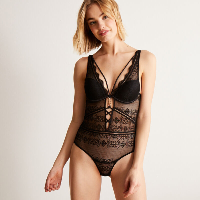 push-up body with golden chain detail - black;