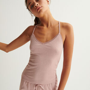 sequinned top with lace edges - nude pink