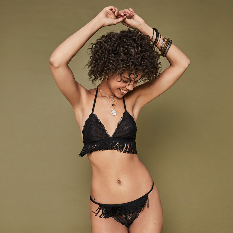 Tucsoniz black triangle bra;