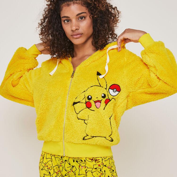 Pikaballiz Pikachu print fleece jacket with hood;