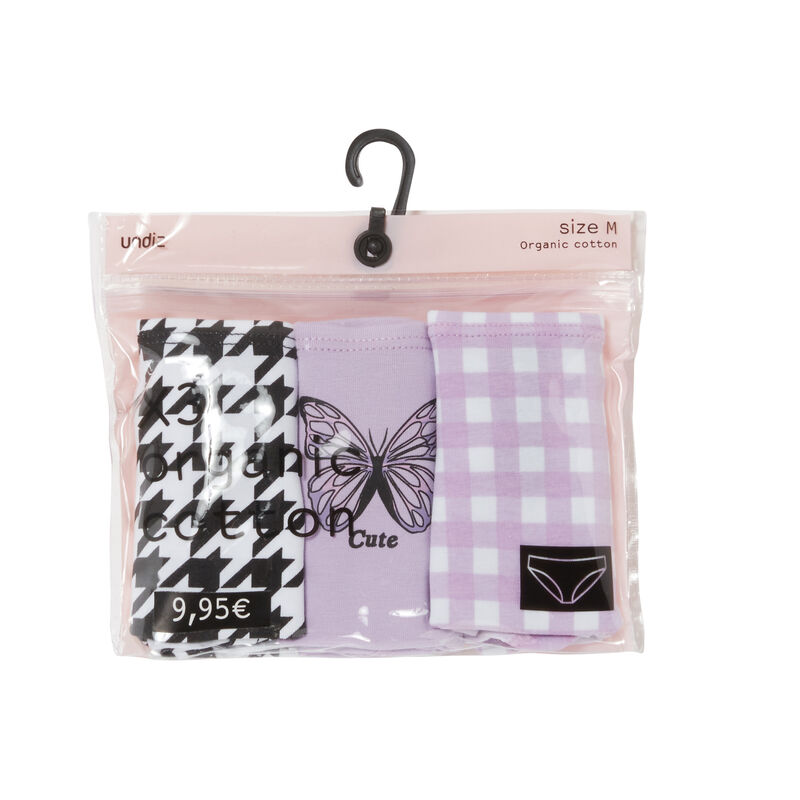 pack of 3 butterfly mood panties - lilac;
