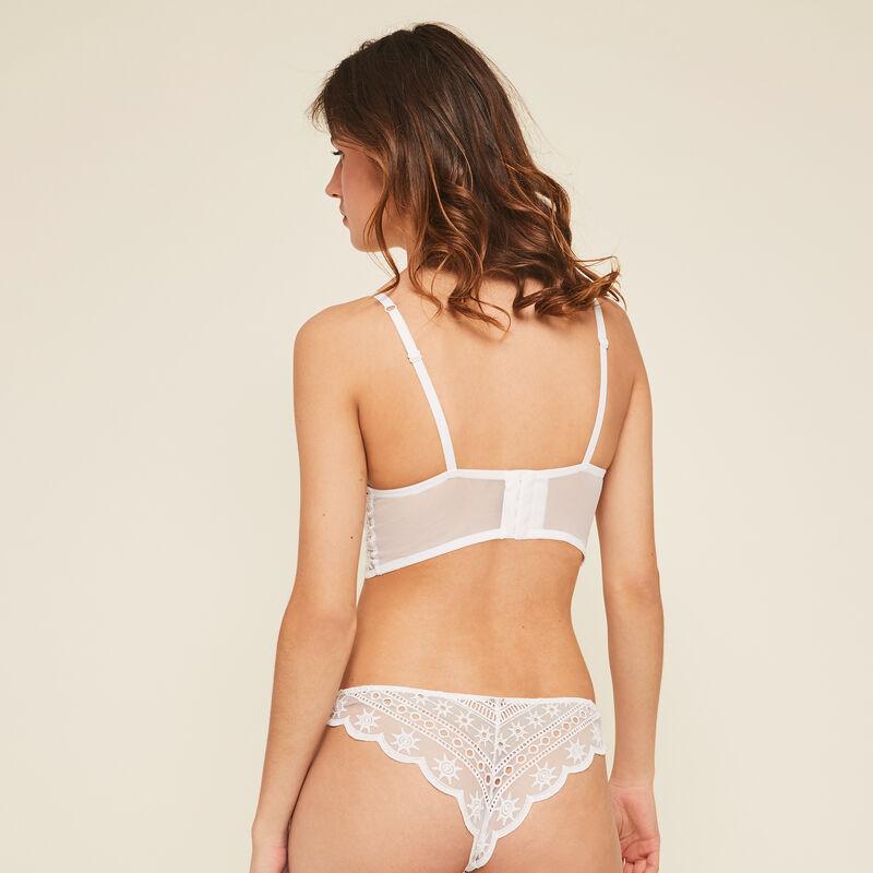 Tocrobrodiz white push-up bustier bra;
