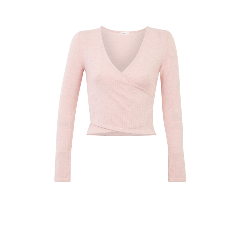 long-sleeved top with wrapover effect - pink;