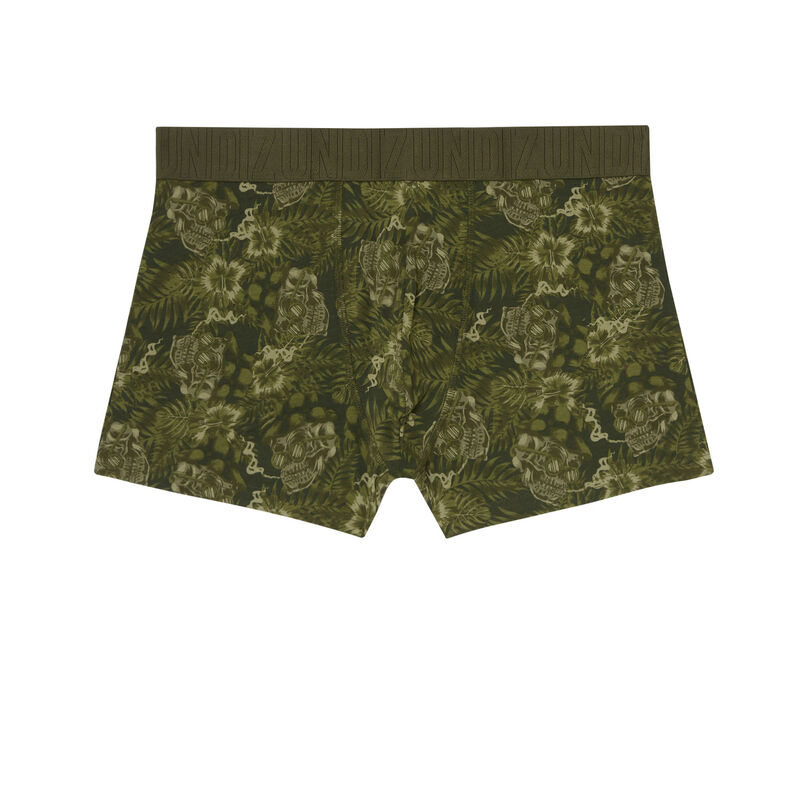 boxers with hibiscus motifs - khaki;