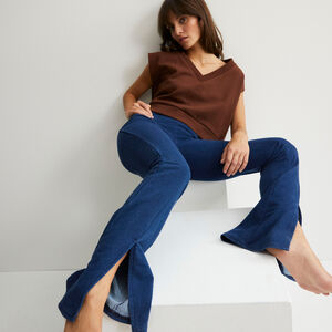flared trousers with slits - blue