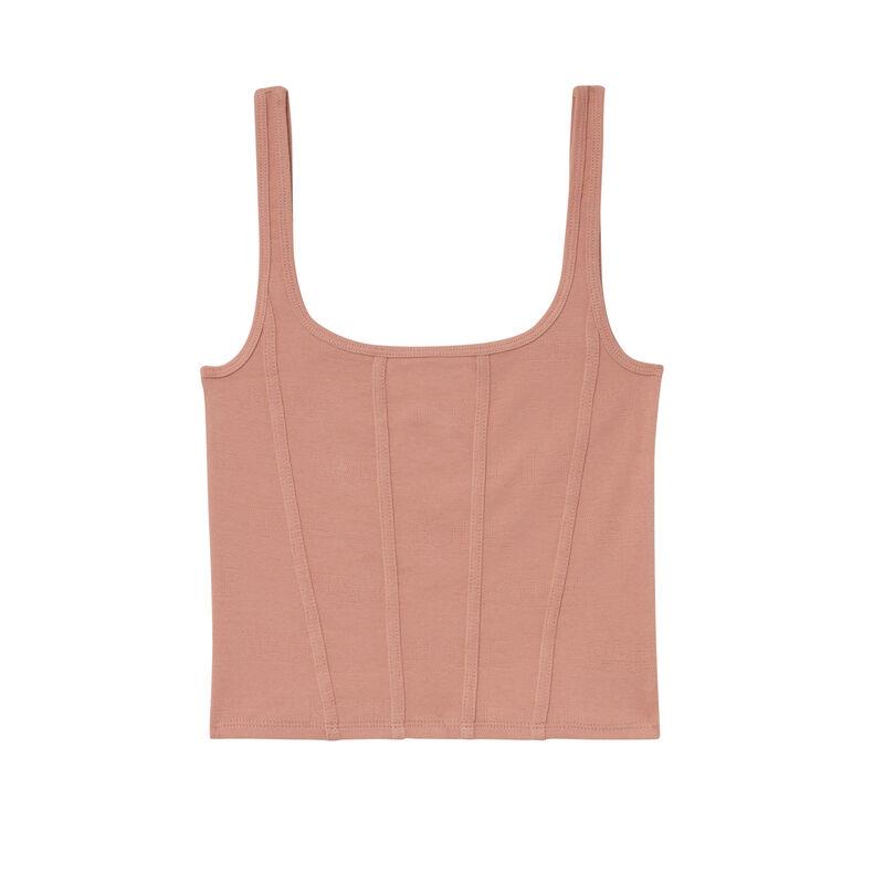"Aya x undiz ribbed ""pretty girl"" corset effect top - nude pink;"