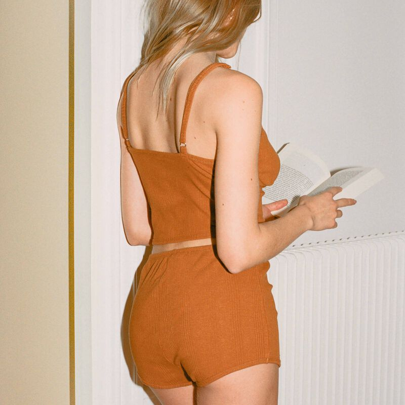 jersey shorts with corset detail - brown;