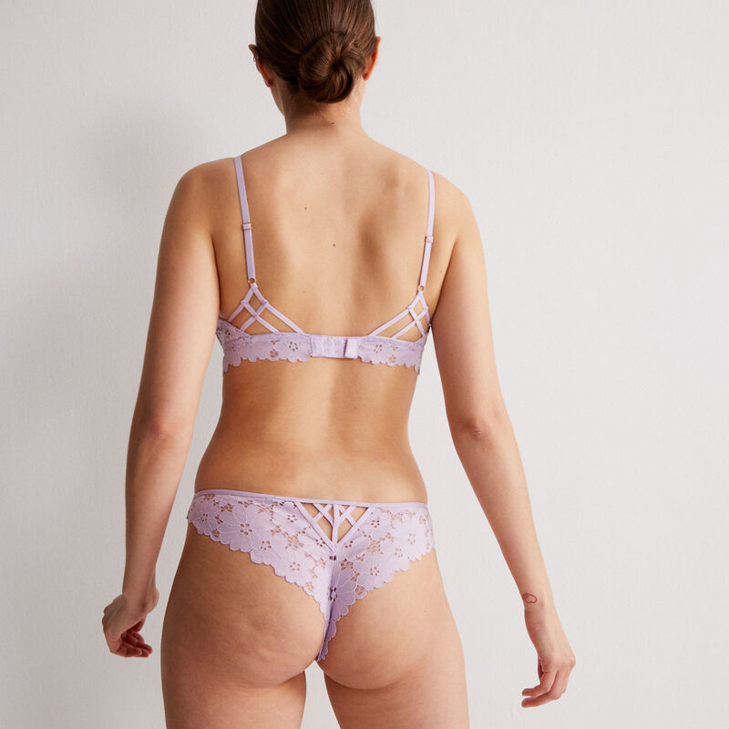 100% lace openwork thong - lilac;
