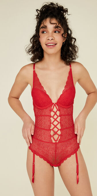Soleuriz red push-up bodysuit red.