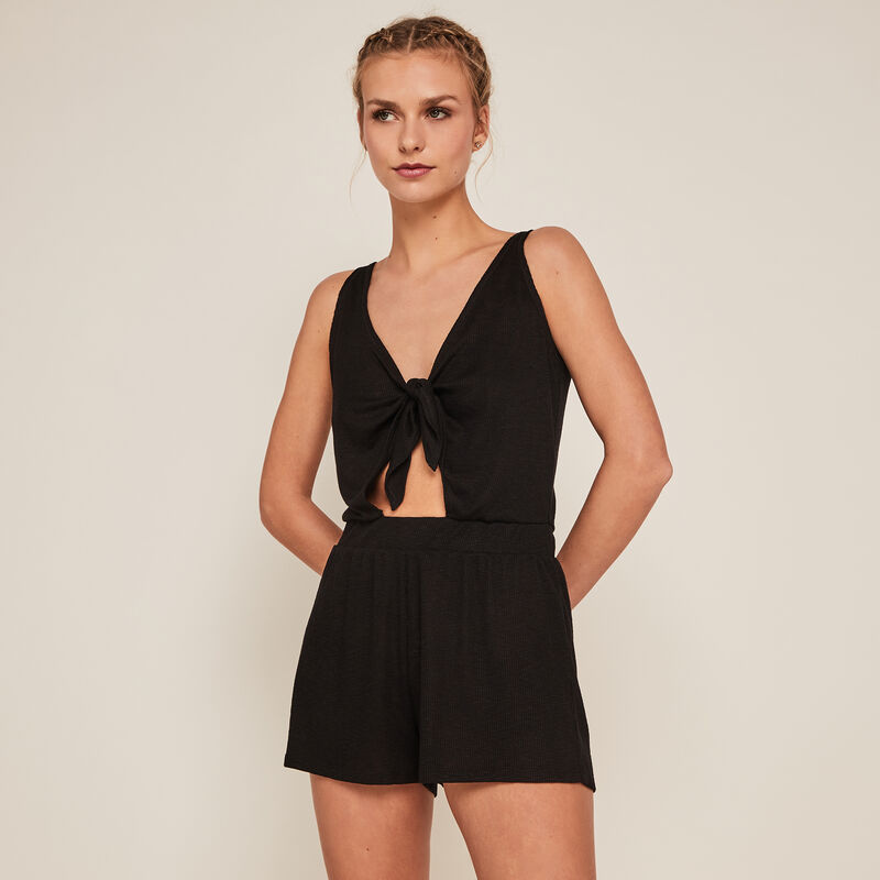 Playsuit with front tie - black;