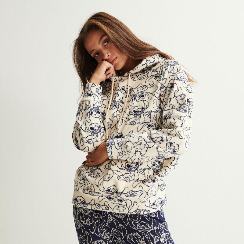 stitch pattern hoodie - off-white;
