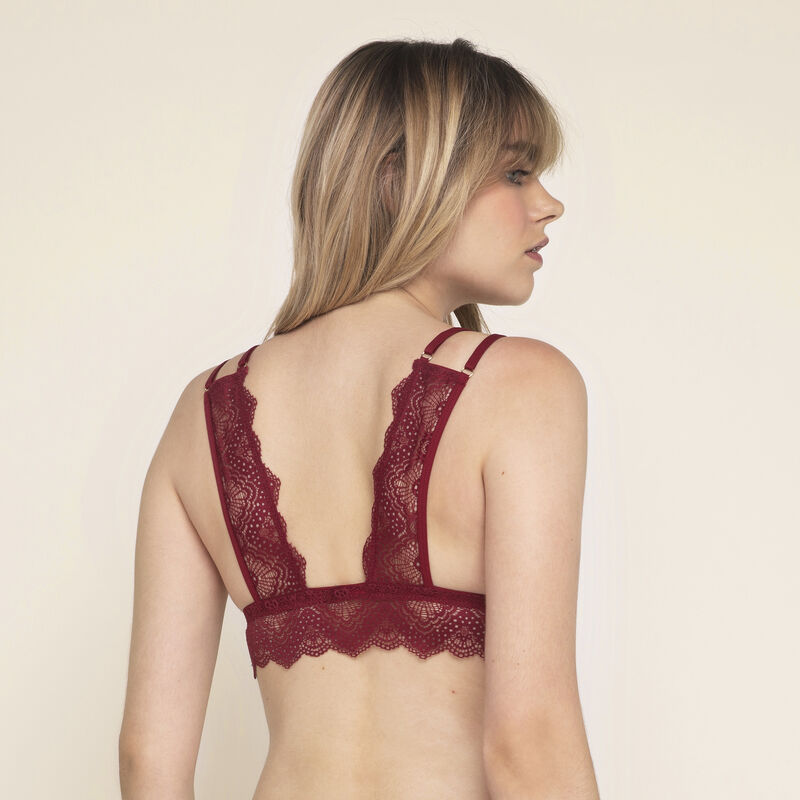 Marceliz micro/lace wire free triangle bra;