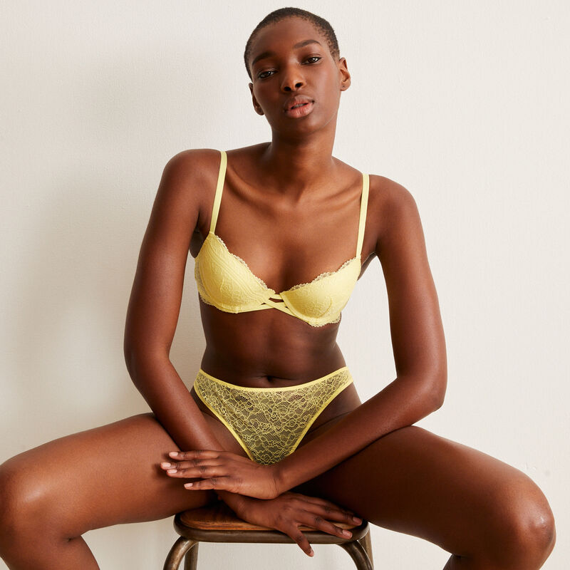 lace push-up bra - yellow;