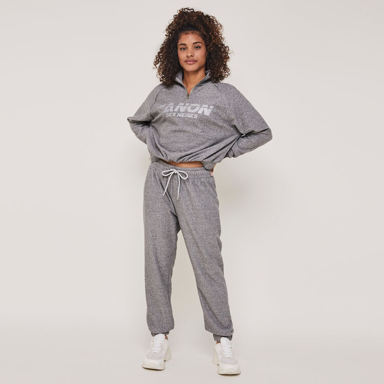 Canondesneigiz reflective print sweatshirt with zip;