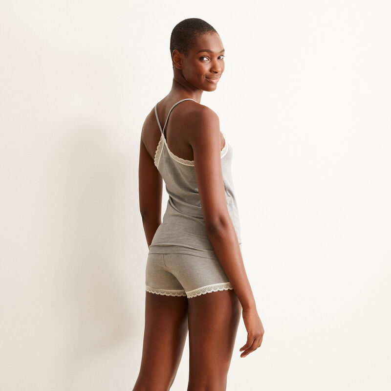 top with spaghetti straps and lace - grey;