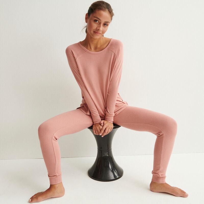 трикотажный топ с длинными рукавами - телесный розовый;