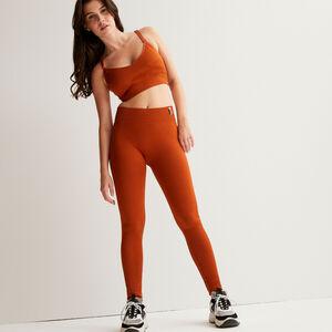 twist effect leggings - brown