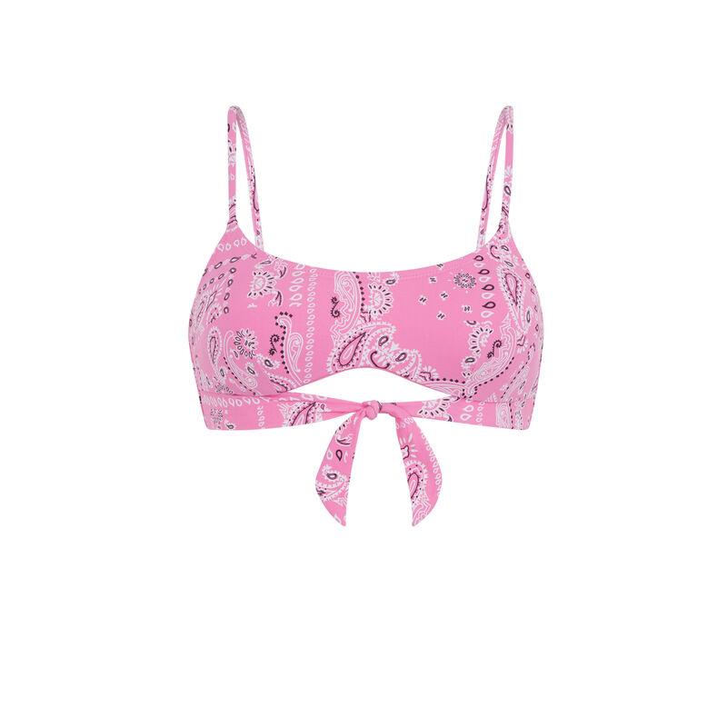 Printed khaki bralette bikini top with bandanna print - pink;