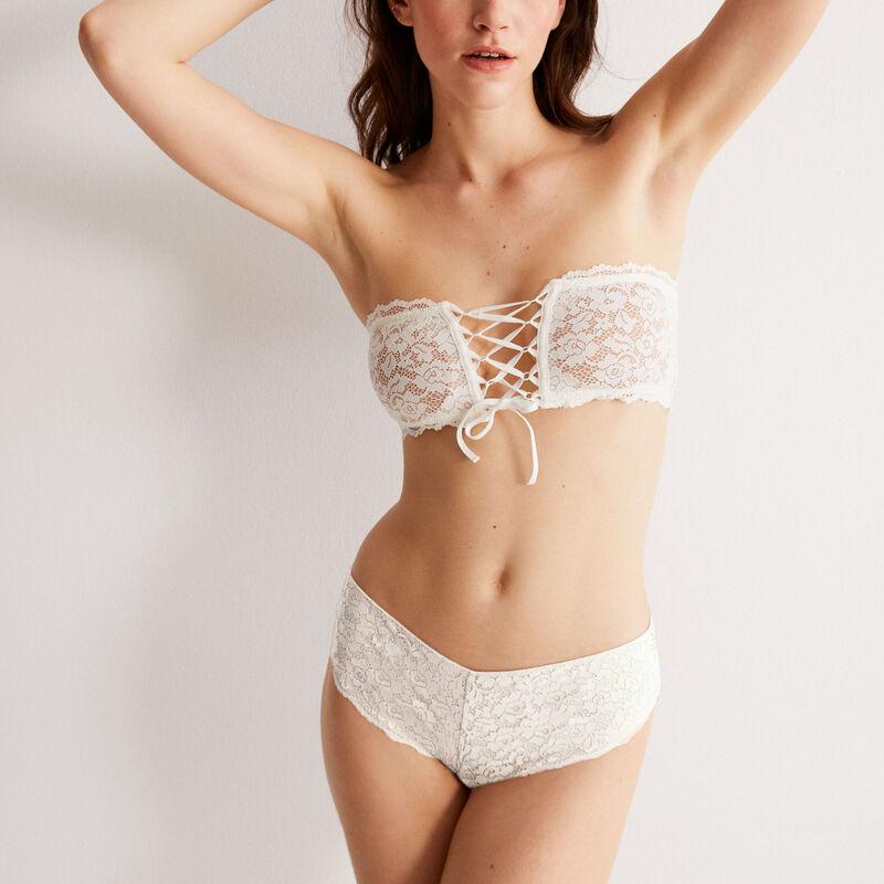 non-wired corset-effect bandeau bra - ecru;