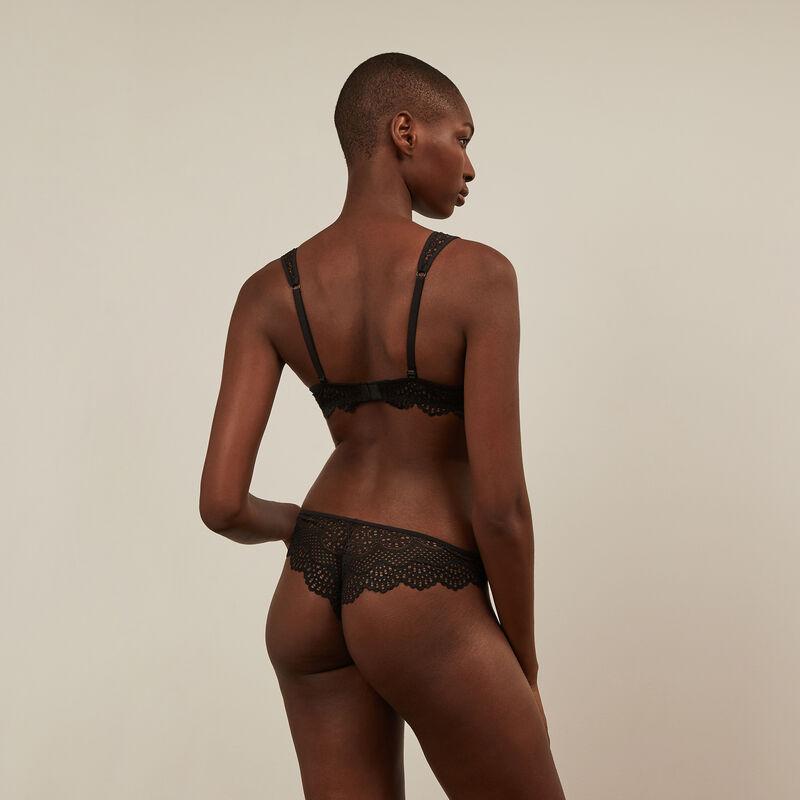 Brazyliany tanga z koronki — kolor czarny;