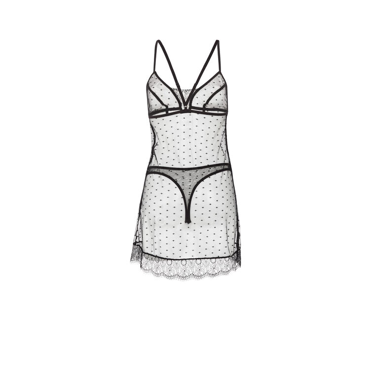 Petitpoiz black nightie + tanga set;