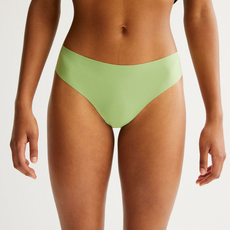 microfibre and lace briefs - green;