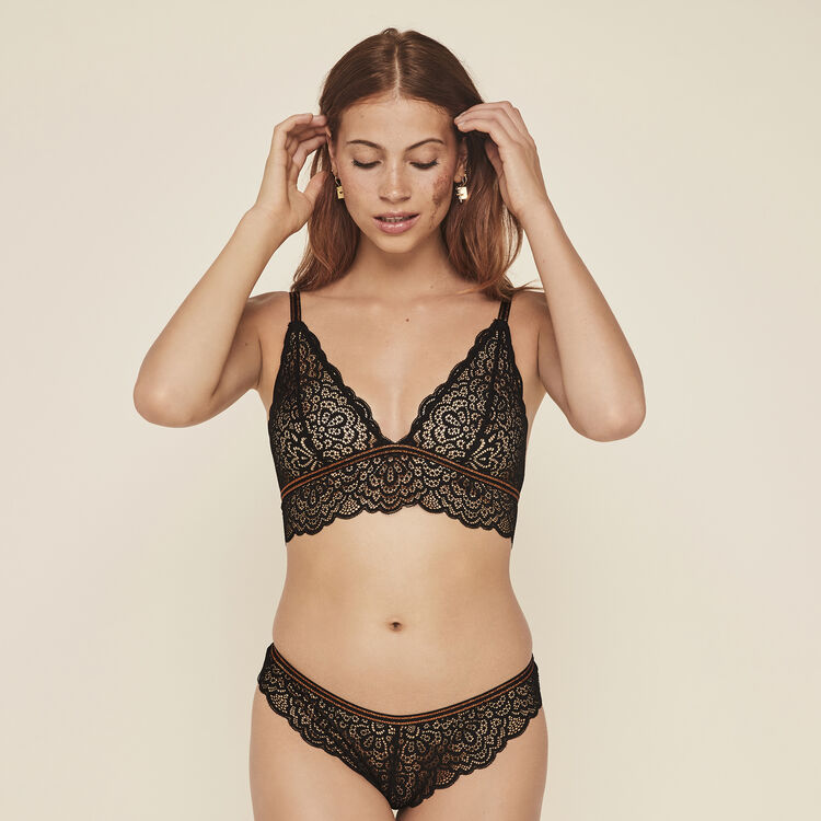Lurexbandiz lace wireless triangle bra;