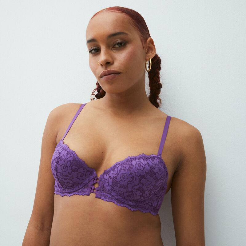 floral lace push-up bra - blue;