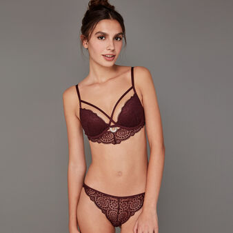 Precieusiz burgundy push-up bustier bra winetasting.