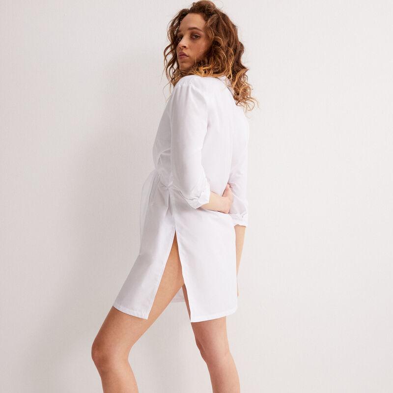 Tie-effect shirt dress - white;