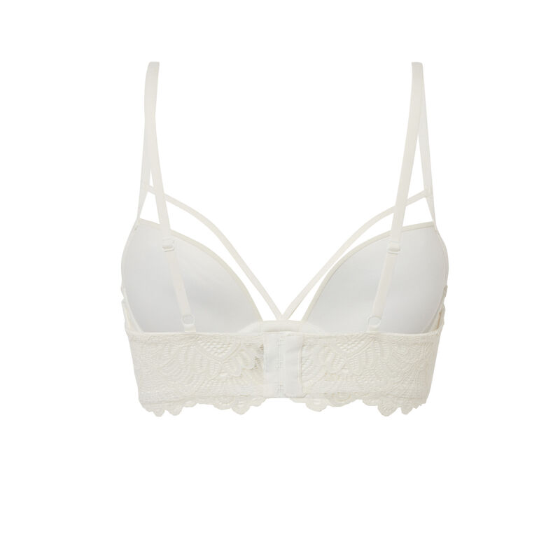 Crossover strap push-up bra - off-white;