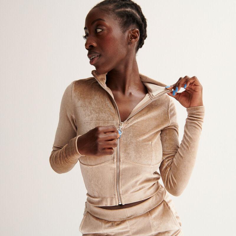 """Aya x undiz velvet """"pretty"""" jacket - beige;"""