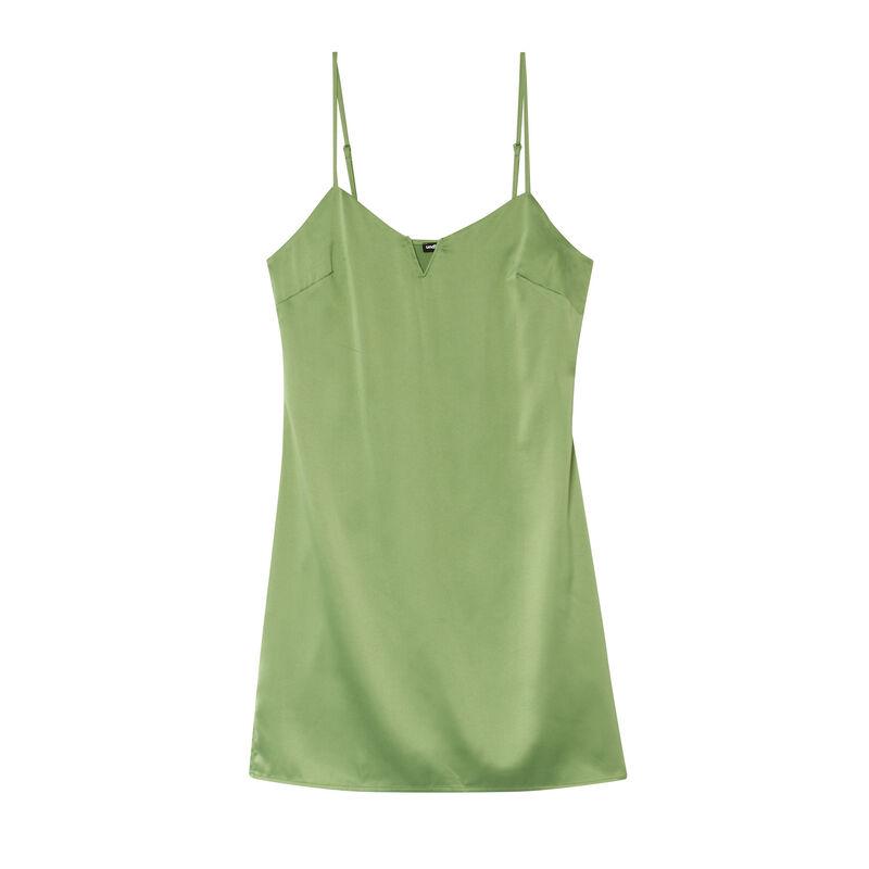 satiny dress with underwire neckline - green;