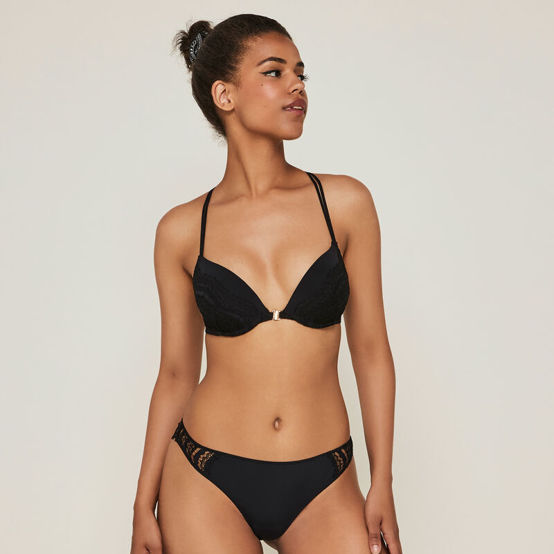Pushwaviz micro/lace push-up bra with designer back;