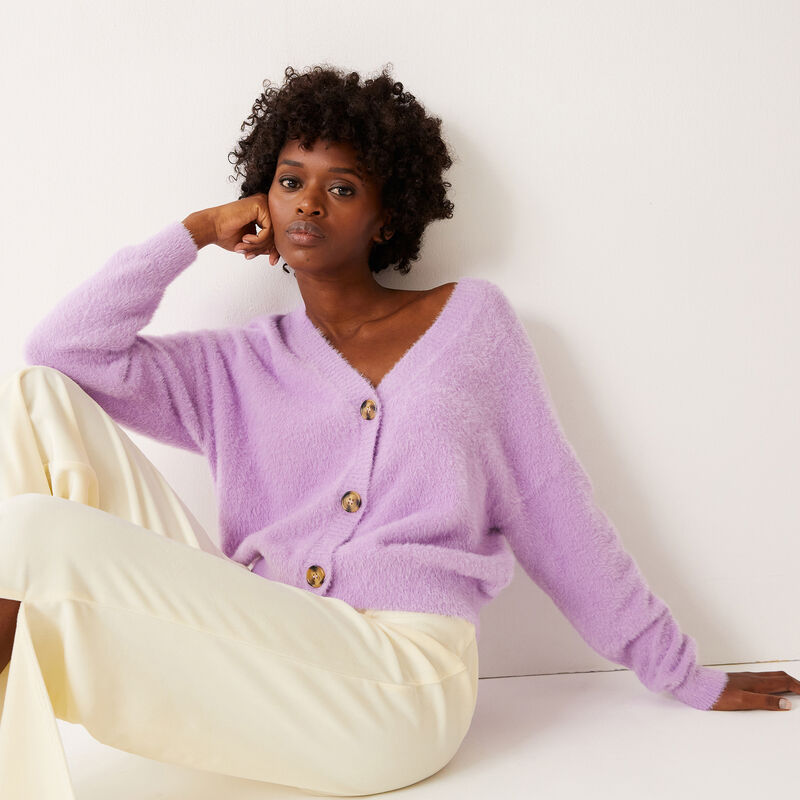 buttoned cardigan - lilac ;