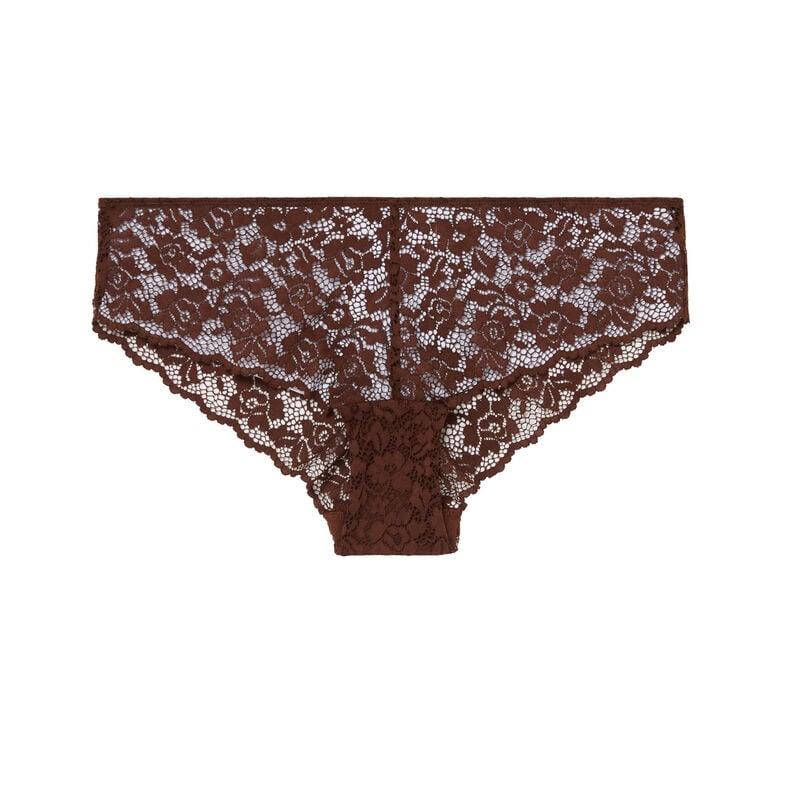 трусики-шорты из цветочного кружева - коричневый;