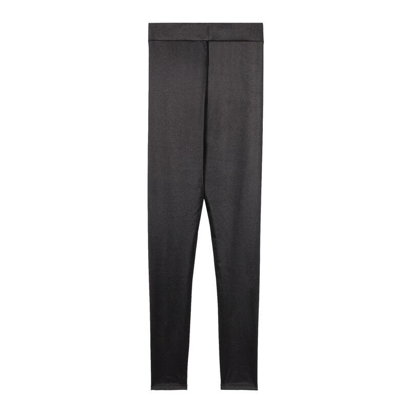 legginsy gładkie satynowe — czarne;