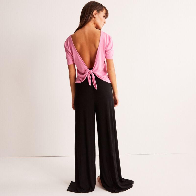 Широкие брюки с разрезами - черный;
