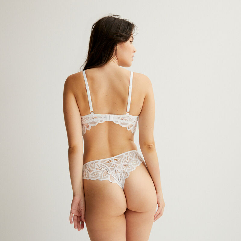 double lace tanga briefs - white;
