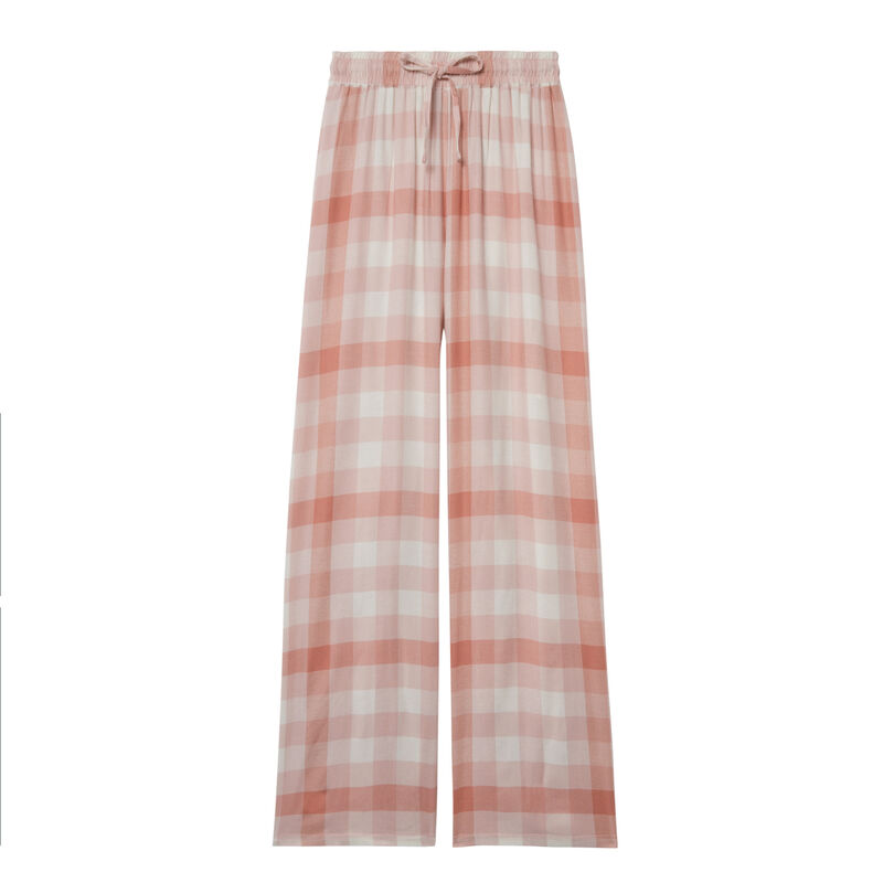 Wide check trousers with pleated waist and ties - caramel;