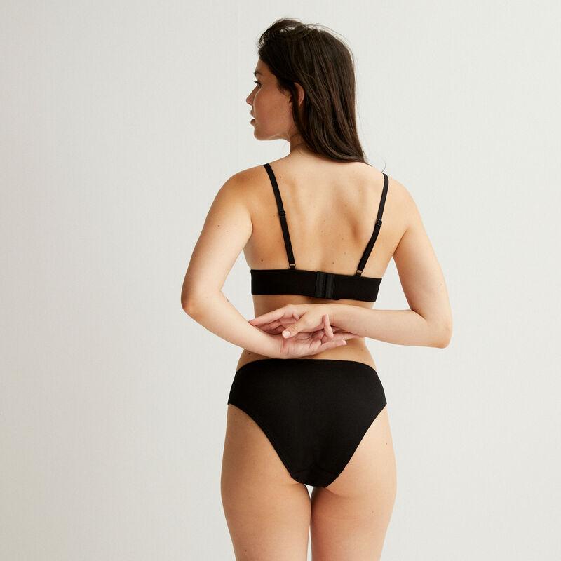 Triangle padded bustier bra - black;