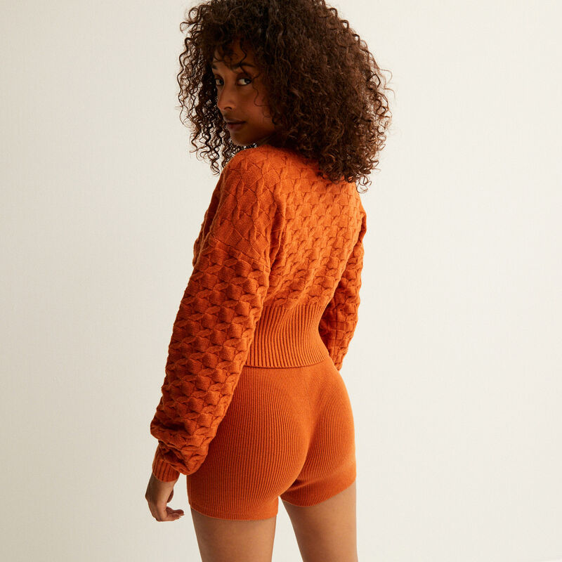 knitted high-waisted shorts - brown;