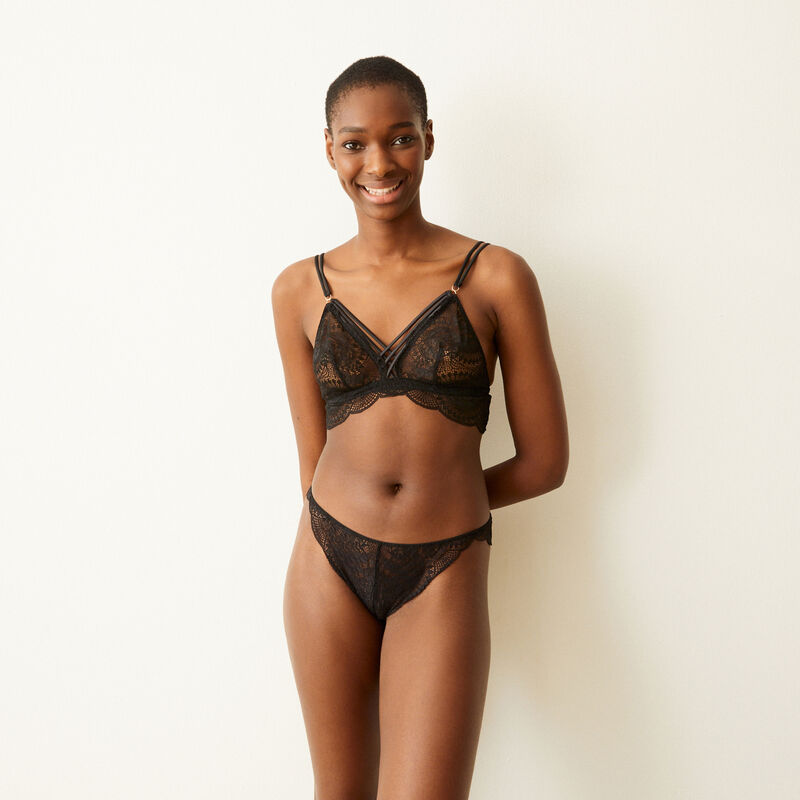 Lace triangle bra with satin straps - black  ;
