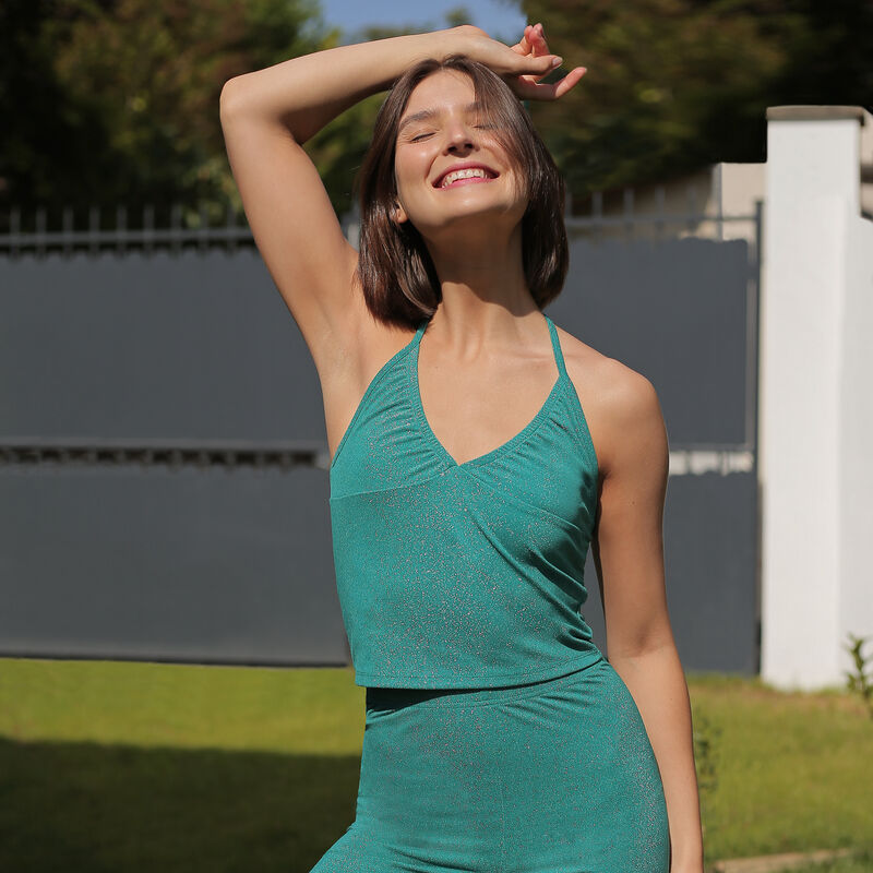 Backless top with tie on neck - green;
