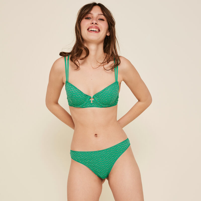 Lurexiz emerald-green padded bra;