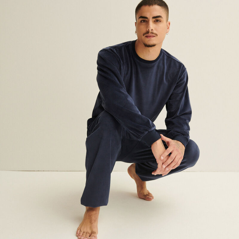 pantalon effet velours et élastique à la taille - bleu marine;